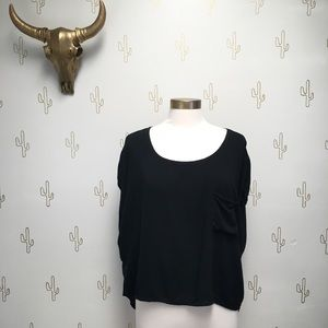 Brandy Melville Black High Low Pocket Tee Top